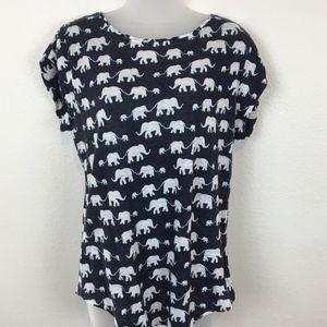 Ann Taylor Loft Linen Elephant T-Shirt Size M Blue